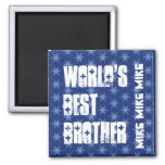 World's Best BROTHER Custom Name Blue Stars Fridge Magnet