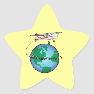 World's Best Brother with Airplane Star Sticker