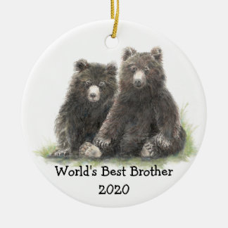 World's Best Brother with Cute Black Bear Family Christmas Ornament