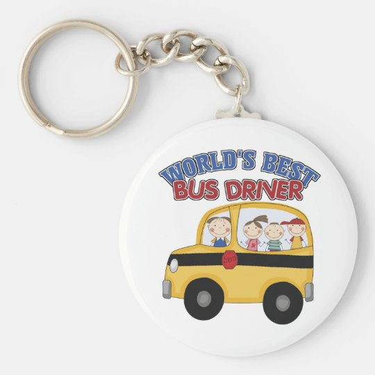 World's Best Bus Driver Basic Round Button Key Ring