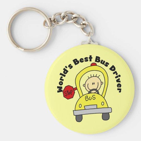 World's Best Bus Driver Basic Round Button Key Ring