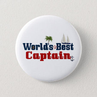 Worlds Best Captain 6 Cm Round Badge