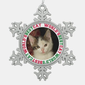 World's best cat custom photo christmas pet snowflake pewter christmas ornament