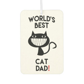 World's Best Cat Dad | Fun Cat Cartoon Car Air Freshener