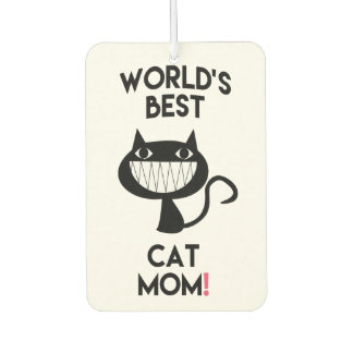 World's Best Cat Mom   Fun Cat Cartoon Car Air Freshener