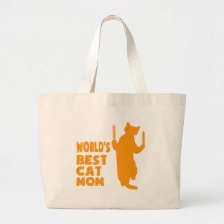 World's Best Cat Mom(Orange) Jumbo Tote Bag