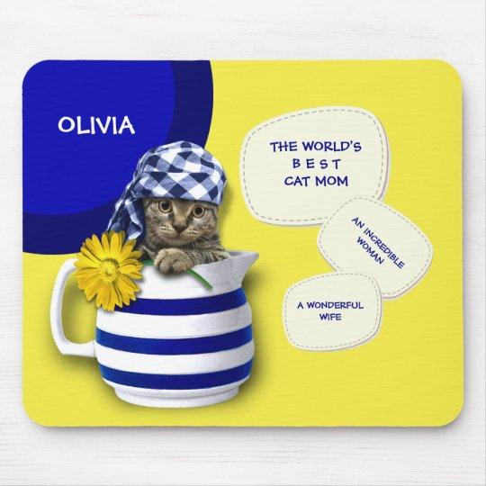 World's Best  Cat Mum. Custom Name Mousepads