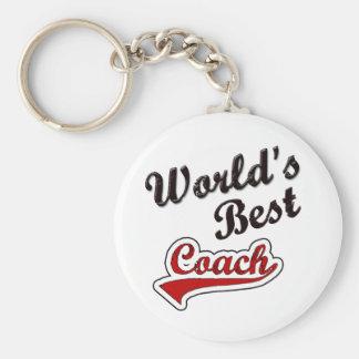 World's Best Coach Basic Round Button Key Ring