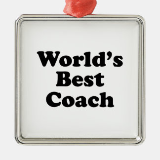 World's Best Coach Square Metal Christmas Ornament