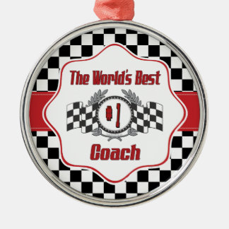 World's Best Coach - Number One Silver-Colored Round Decoration