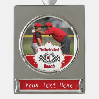World's Best Coach - Number One Silver Plated Banner Ornament