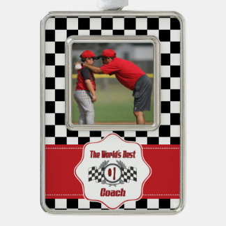 World's Best Coach - Number One Silver Plated Framed Ornament