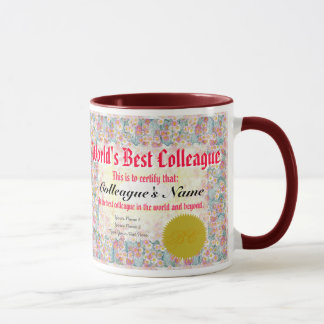 World's Best Colleague Certificate Mug