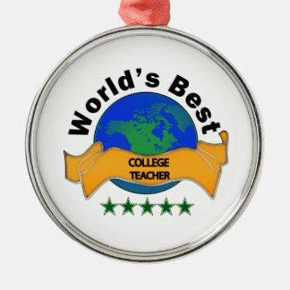 World's Best College Teacher Christmas Ornament