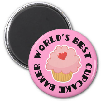 Worlds Best Cupcake Baker Cooking Gift 6 Cm Round Magnet