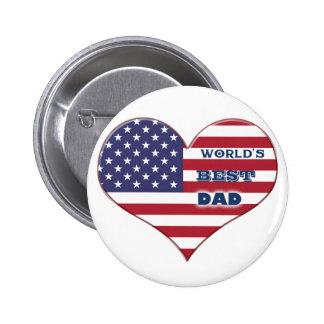 World's Best Dad American Flag Heart 6 Cm Round Badge