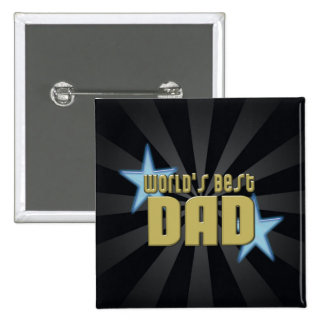 World's Best Dad Black/Gold Cool Father's Day 15 Cm Square Badge