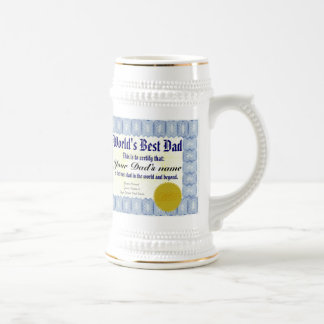 World's Best Dad Certificate Beer Stein Mug