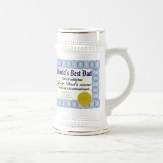 World's Best Dad Certificate Beer Stein Mug