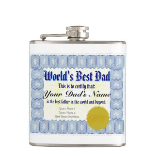 World's Best Dad Certificate Hip Flasks