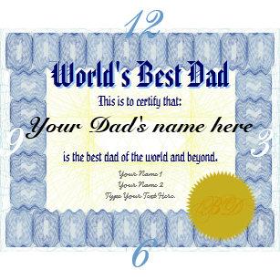 worlds best dad certificate gifts gift ideas zazzle uk