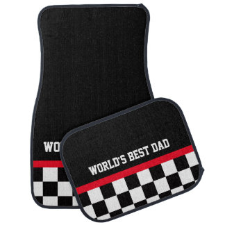 World's Best Dad checkered flag car mats Floor Mat