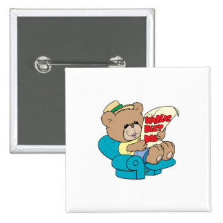 worlds best dad cute fathers day teddy bear design 15 cm square badge