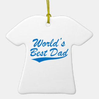 World's Best Dad Double-Sided T-Shirt Ceramic Christmas Ornament
