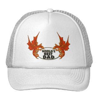 Worlds Best Dad Dragon In Gold Trim Trucker Hat
