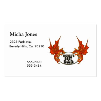 Worlds Best Dad Dragon In Gold Trim Pack Of Standard Business Cards