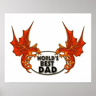 Worlds Best Dad Dragon In Gold Trim Print