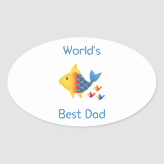 World's Best Dad (fish) Oval Stickers