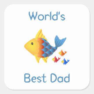 World's Best Dad (fish) Square Sticker