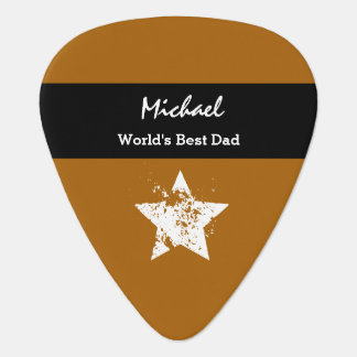World's Best DAD Gold and Black Gift Z30D Guitar Pick