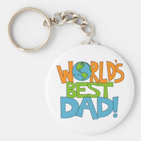 worlds best dad keyring basic round button key ring