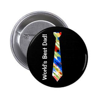 World's Best Dad Multi-Color Colorful Fake Tie 6 Cm Round Badge