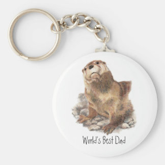 World's Best Dad, River Otter, Animal Basic Round Button Key Ring