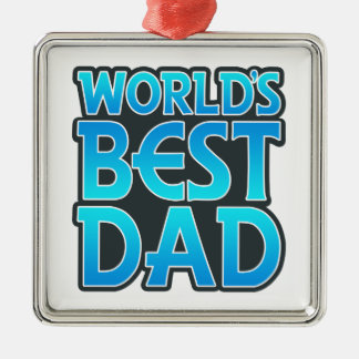 World's Best Dad Silver-Colored Square Decoration