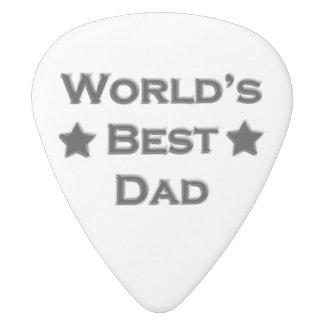 World's Best Dad White Delrin Guitar Pick