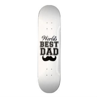 World's best dad with mustache 18.1 cm old school skateboard deck