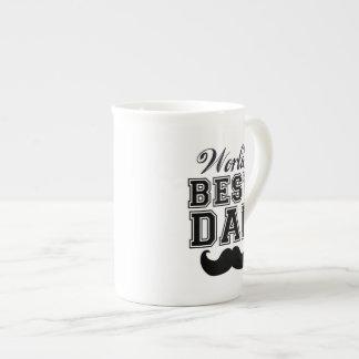 World's best dad with mustache bone china mug