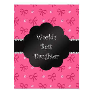 World's best daughter pink bows diamonds personalized flyer