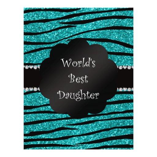 World's best daughter turquoise glitter zebra flyer design