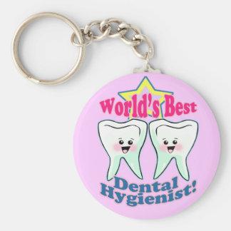 Worlds Best Dental Hygienist Basic Round Button Key Ring