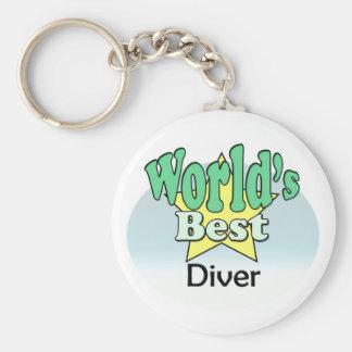 World's best Diver Basic Round Button Key Ring