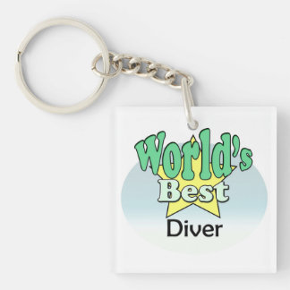 World's best Diver Single-Sided Square Acrylic Key Ring