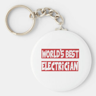 World's Best Electrician. Basic Round Button Key Ring