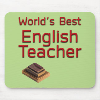 World's Best English Teacher with Books Mouse Pad