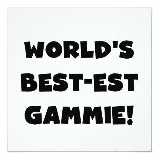 World's Best-est Gammie Black and White Gifts 13 Cm X 13 Cm Square Invitation Card
