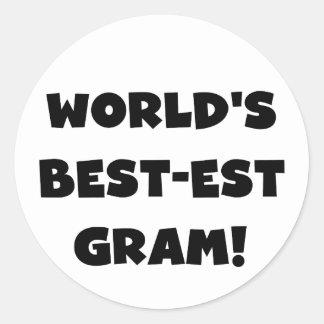 World's Best-est Gram Black Text Tshirts and GIfts Round Sticker